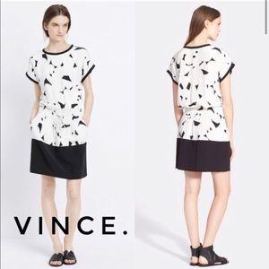 VINCE Geometric Print Dress 100% Silk Size Medium